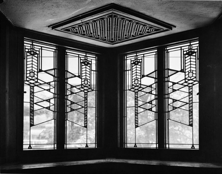 Frank Lloyd Wright With Custom Stained Glass Houston