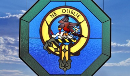 family crest stained glass window houston